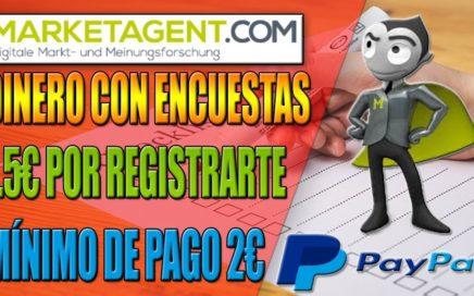 MarketAgent Gana Dinero Con Encuestas, 1.5€ Gratis Por Registrarte, Mínimo de retiro 2€  Para Paypal