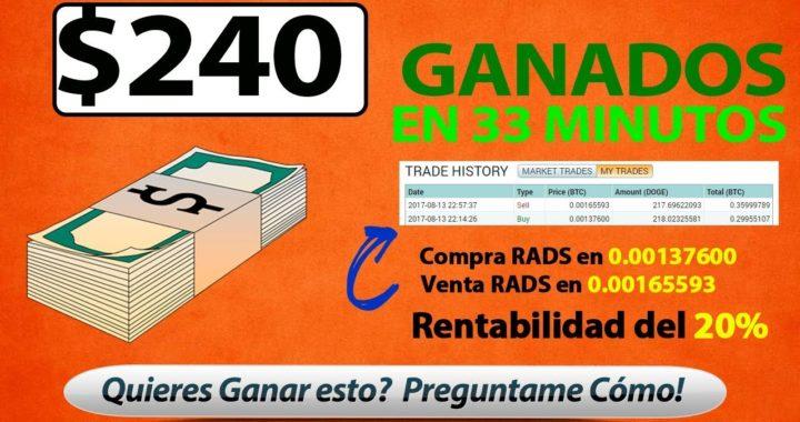 $240 Dolares Ganados en 33 minutos - COMO GANAR DINERO POR INTERNET - CRIPTOMONEDAS