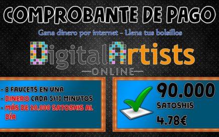 90.000 satoshis ganados en 1 semana | Dinero cada 5 y 10 minutos con Digital Artists Online