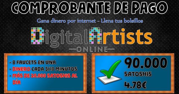 90.000 satoshis ganados en 1 semana   Dinero cada 5 y 10 minutos con Digital Artists Online