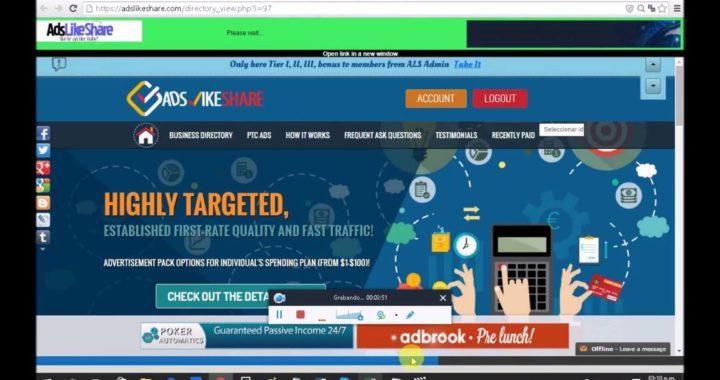 AdsLikeShare Revshare Gana dinero paypal por internet y consigue referidos en el proceso