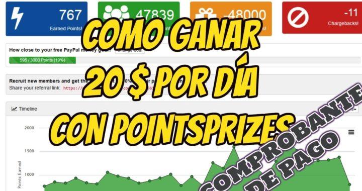 Como ganar dinero gratis con Pointsprizes/ Gana 20$ por día/Comprobante de pago