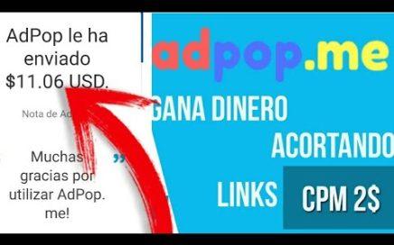 Gana Dinero Acortando Links Con El Mejor Acortador ADPOP ME !!! Con prueba de pago !!