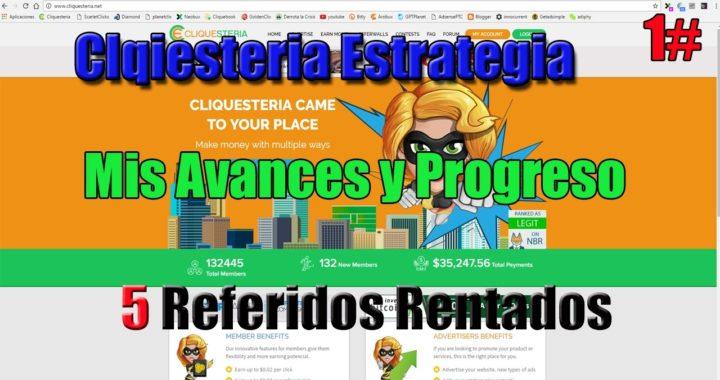 Gana dinero Online - Mi progreso y avances en Cliquesteria - 1#