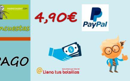 Pago 4,90€ en MarketAgent por Paypal | Completa encuestas y gana dinero + Bono de 1.5€ de regalo