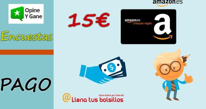 Canjeando cheque regalo de 15€ en Amazon gratis con Opine y Gane | Dinero con encuestas para España