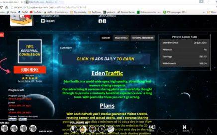 EdenTraffic 2016| EdenTraffic Prueba de pago 27$ | Ganar dinero paypal 2016