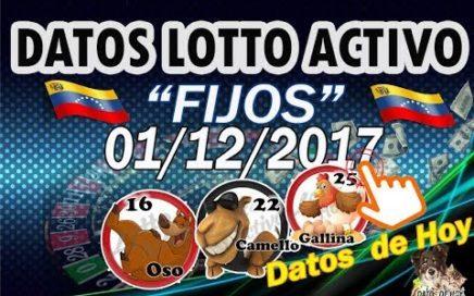 """Fijos Para """"GANAR""""   hoy 01 de Diciembre de 2017. Con LOTTO ACTIVO, Ruleta Activa y Gran Ruleta."""