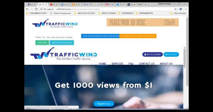 gana dinero desde tu pc con NUEVA Pagina para Ganar Dinero con  trafficWind 2018