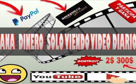 GANA DINERO SOLO VIENDO VIDEO DE YOUTUBE DIARIOS PARA TU PAYPAL CON 2 BUENA PAGINA SORTEO PAYPAL