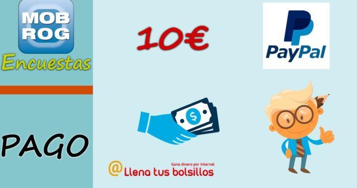 Pago 10€ en Mobrog   Una de las mejores páginas de encuestas para ganar dinero