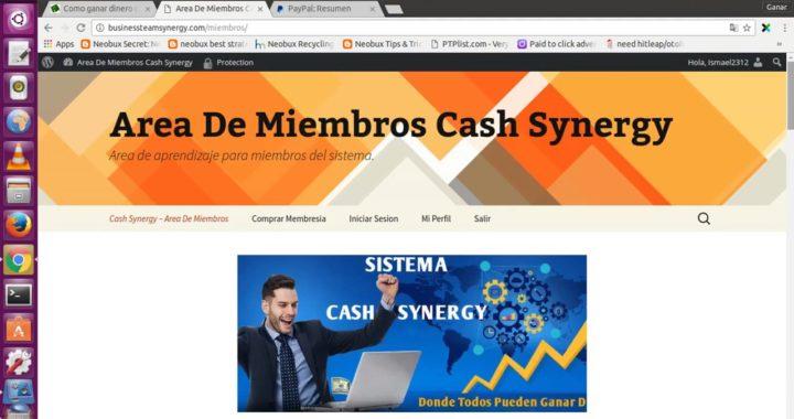 Sistema Cash Synergy 2017   Prueba de Pago   Gana 27 USD Cientos de Veces para PayPal