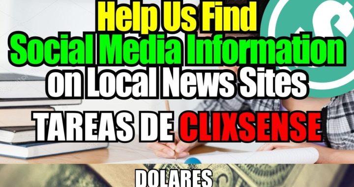 Como hacer la Tarea de Clixsense: Help Us Find Social Media Information on Local News Sites