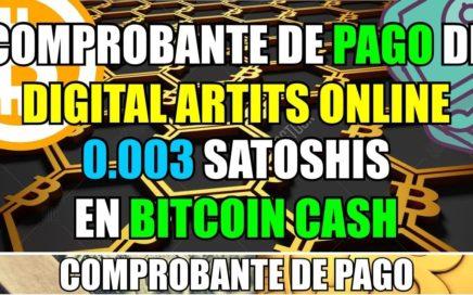 Comprobante de Pago de Digital Artists Online | 0.003 Satoshis en Bitcoin Cash a Coinbase