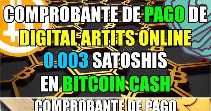 Comprobante de Pago de Digital Artists Online   0.003 Satoshis en Bitcoin Cash a Coinbase