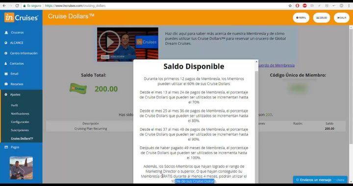CRUISE DOLLARS | SALDO DISPONIBLE | GANA DINERO VIAJANDO