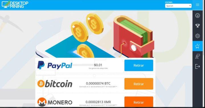 GANA DOLARES, CRIPTOMONEDAS CON TU PC MÍNIMO DE PAGO $1 DOLAR DESKTOPMINING SI PAGA 2018!!!!!!!!