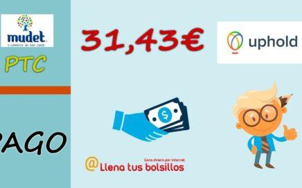 Mudet me paga 31.43€ por Uphold | La PTC donde más dinero puedes hacer todos días