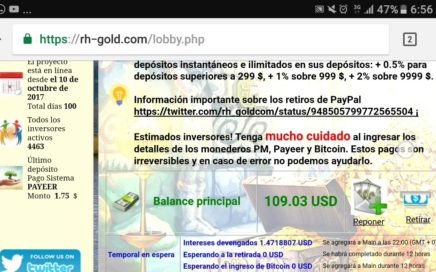 Retirando dinero de Rh-Gold.com a PayPal  Comprobante de pago!