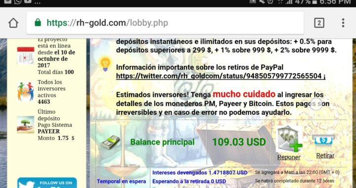 Retirando dinero de Rh-Gold.com a PayPal| Comprobante de pago!