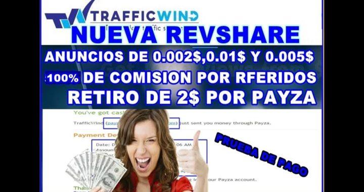 TrafficWind la ptc más fácil para ganar dinero gratis para payza