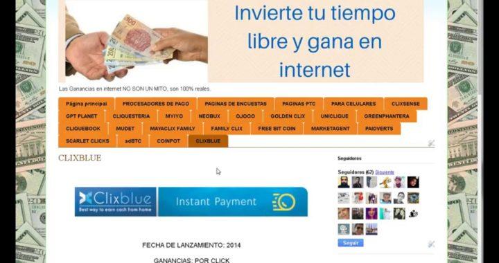 Clixblue, registro y gana dinero en internet