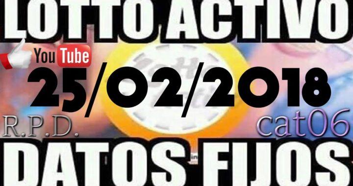 LOTTO ACTIVO DATOS FIJOS PARA GANAR  25/02/2018 cat06