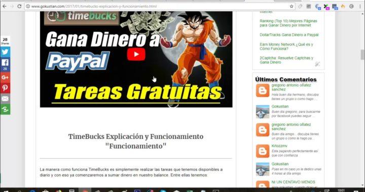 Aprovecha esta página para ganar dinero gratis a Paypal | TimeBucks Prueba de Pago | Gokustian