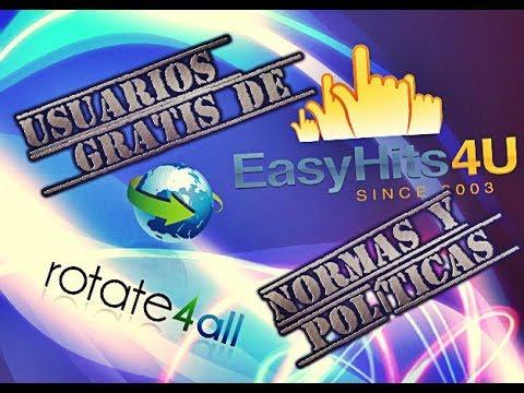 EASYHITS4U | NUEVOS CAMBIOS A USUARIOS GRATIS | DONDE PROMOVER ROTATE4ALL REGLAS