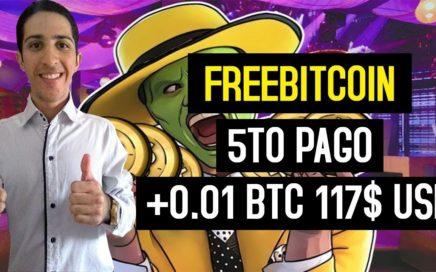 FreeBitcoin 5to Pago [117$ USD +0.01 BTC] Bitcoin Faucet Pagando desde el 2013