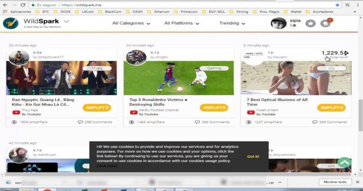 Ganar Dinero por Internet con wildspark 10 AMP por registro, que viene a ser 3$ por referido 2018