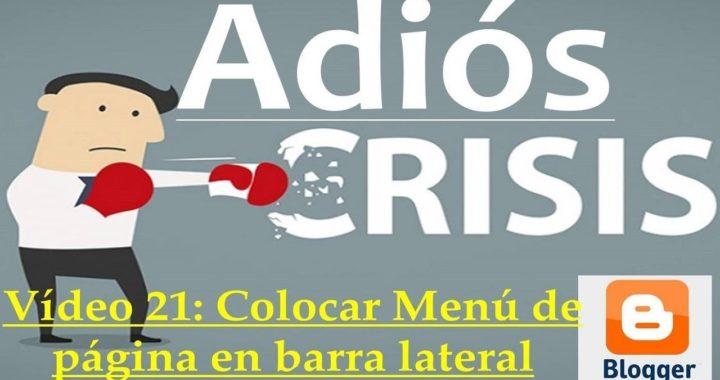 Proyecto Adiós Crisis Video21: Colocar Menú en Barra Lateral