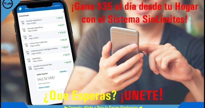 $5.99 Dolares Ilimitados / Sistema Sin Limites 2018 /+/ PRUEBA DE PAGO / Como Ganar Dinero en PayPal