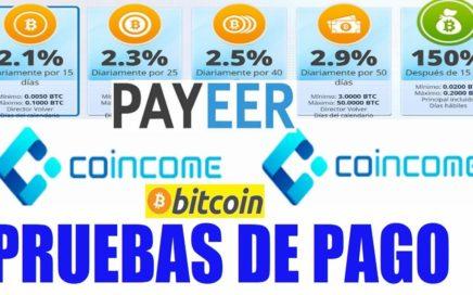 COINCOME PAGA POR PAYEER, PRUEBAS DE PAGO $25,00 DÓLARES / 3 PAGOS RECIBIDOS