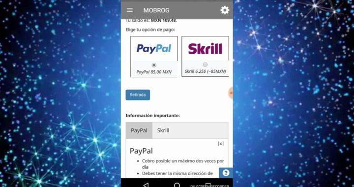 Como retirar dinero de Mobrog a PayPal [Ganar dinero con el teléfono]