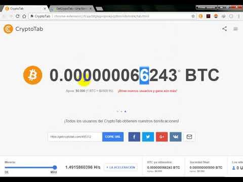 !!!CryptoTab LA MEJOR FORMA DE GANAR BITCOIN CON EXTENCION GANA HASTA 100MIL SATOSHIS EN 1 DIA!!!