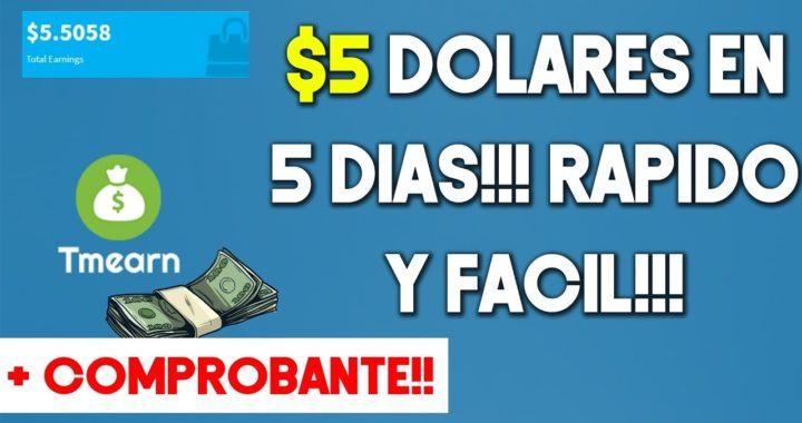 Gana 5 Dolares En 5 Dias!! Fácil y Rápido Con Tmearn + Comprobantes De Pago | 2018