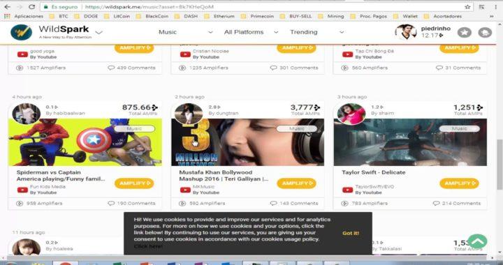Ganar Dinero por Internet compartiendo vídeos, prueba de pago, WildSpark   2018
