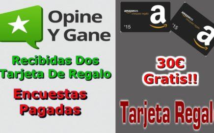 Pago Opine Y Gane 30€ Tarjeta De  Regalo Gratis Amazon  | Encuestas pagadas|