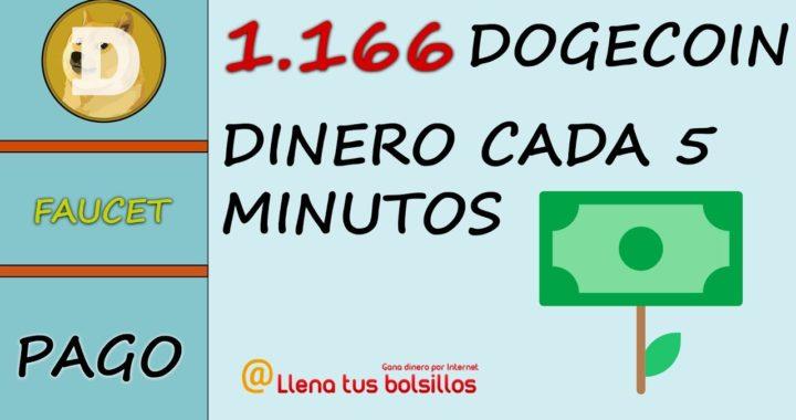 1166 Dogecoins recibidos | Donde ganar dinero cada 5 minutos