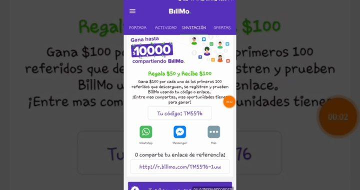 Como ganar dinero fácil y rápido, descarga la app de BillMo y regístrate con este codigo