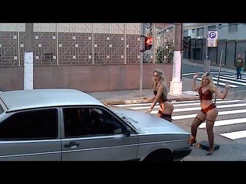 Gatas fazem striptease para ganhar trocado no semáforo