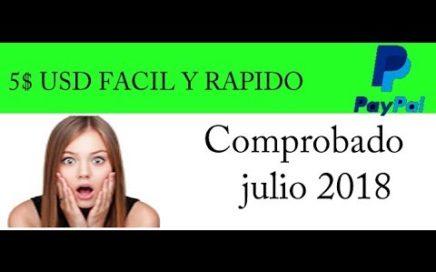 GANA 5$ USD FACIL Y RAPIDO COMPROBADO 1 julio 2018