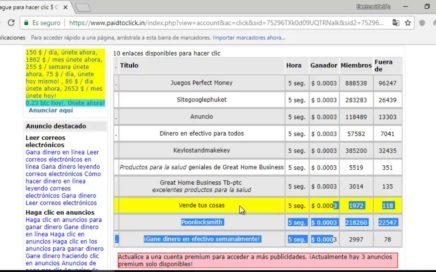 PAIDTOCLICK NUEVO GANA DINERO VIENDO ANUNCIOS MINIMO RETIRO 0.05 A PAYPAL
