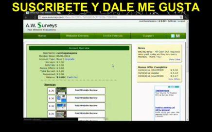 GANAR DINERO GRATIS CON AWSURVEYS Y PAYPAL 2013 ACTUALIZADO