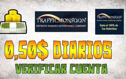 SCAM   Verificar Cuenta y ganar 1$ diario en Trafficmonsoon