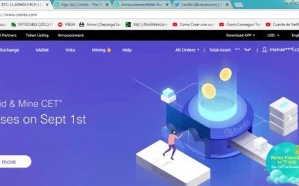 Coinex regalando 100 CET | GANA APROX. 3.8$ SIN INVERSIÓN | GANA DINERO POR INTERNET 2018