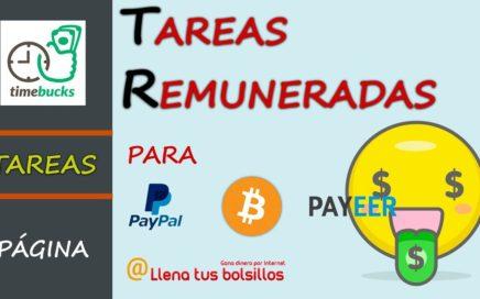 Tareas sencillas pagadas en Timebucks | Gana dinero para Paypal Payeer y Bitcoin