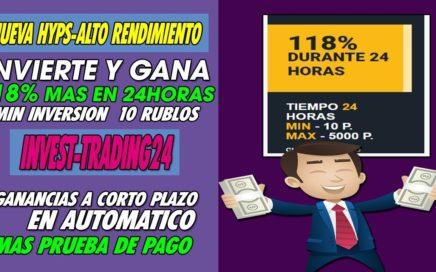 INVEST-TRADING24.RU | Nueva hyip| Pagando 118% mas en 24 horas + Prueba de pago