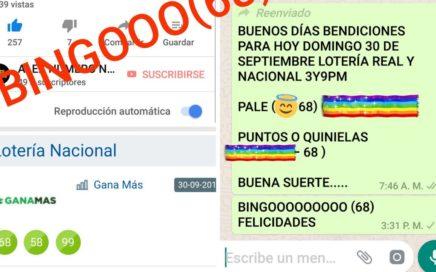 NUMEROS PARA HOY DOMINGO 30/09/2017 DE SEPTIEMBRE PARA TODAS LAS LOTERÍAS BINGO !!!!